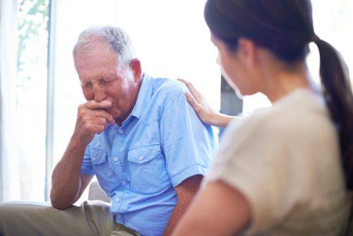 Family members visiting relative in rehab
