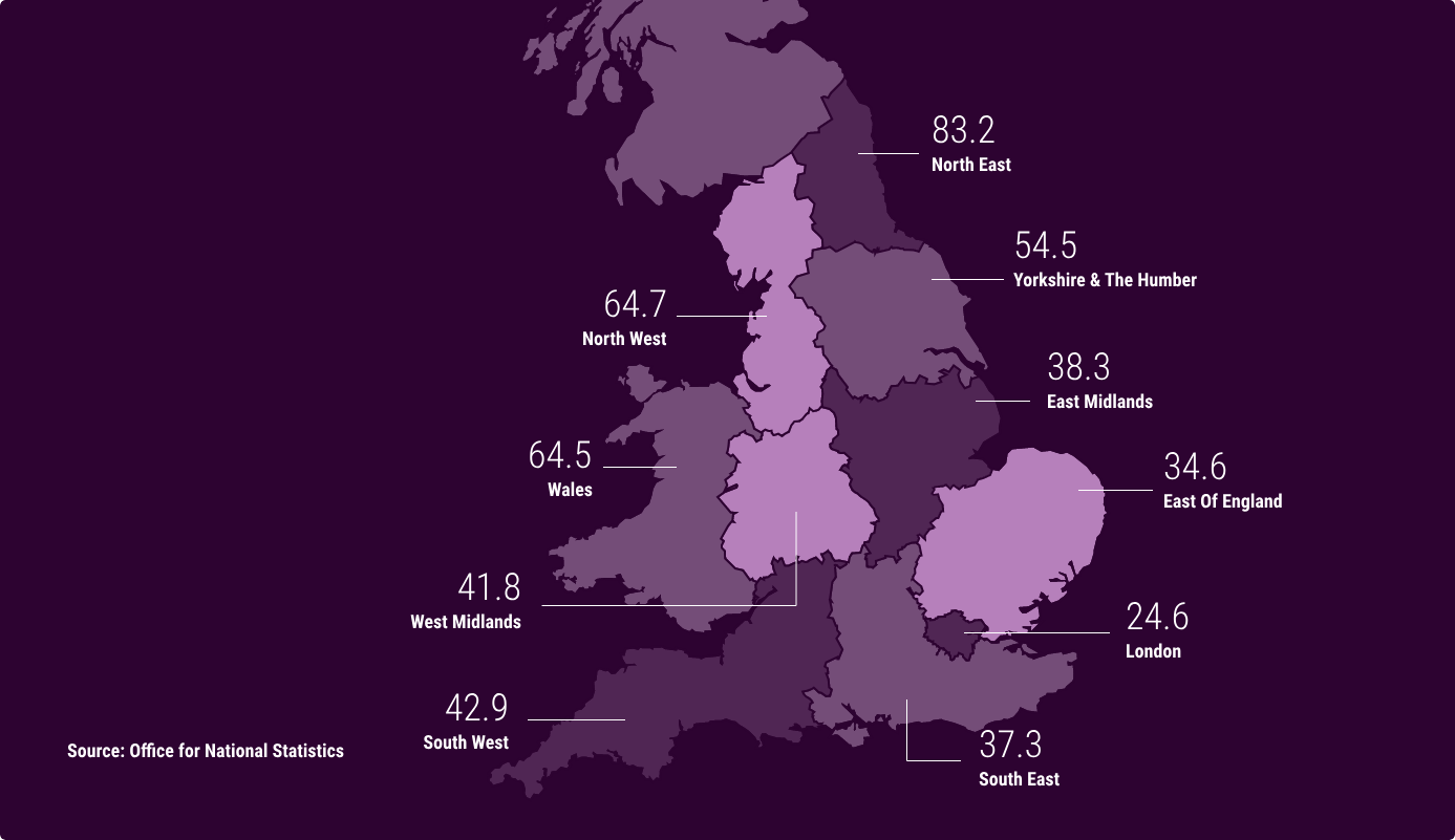 Heatmap shows areas in England & Wales with the highest drug